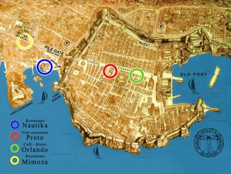 Restaurants in Dubrovnik map 1