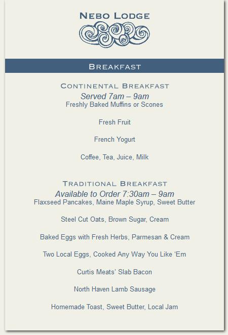 room service breakfast menu