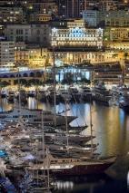 Monaco port at night
