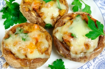Stuffed champignon mushrooms -- grilled on the bottom