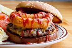 Barbecue Burgers and Fried Onion Rings