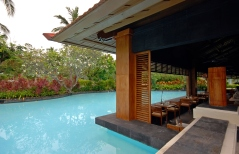 pool and asian pavilion on tropical resort (Bali, Indonesia)