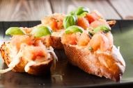 Grilled Bruschetta with mozzarella and tomato