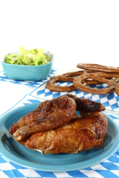 grilled chicken and pretzels