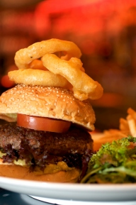 Burgers and Fried Onion Rings