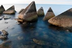 Triangular Concrete Forms in a Breakwater