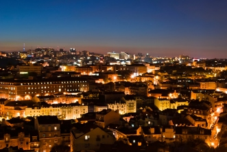 Lisbon panorama at night