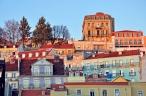Lisbon baixa on sunset