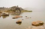 Foggy day. mountain lake - Pyrenees