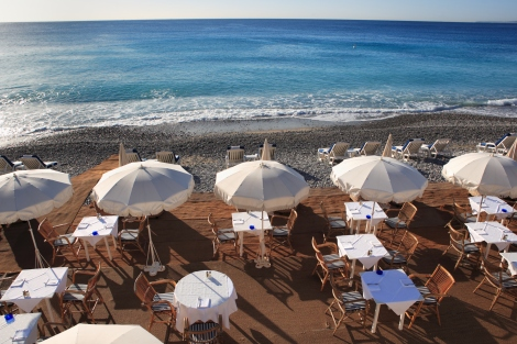 seaside restaurant at beach in French Riviera