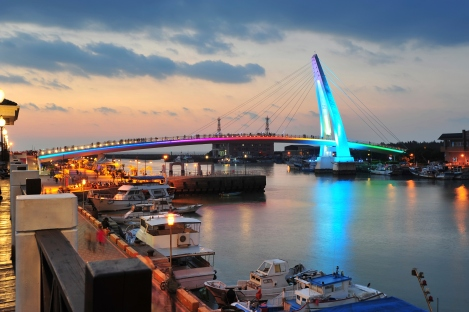 Lover Bridge and Harbour in Tamsui, Taiwan