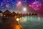 Festive New Year's fireworks over Maldives