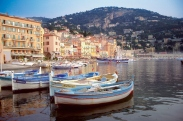 Boats anchored at Villefranche Harbor, French Riviera, France