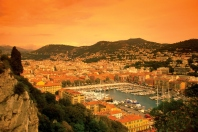 Aerial view of an old port and town at sunset, Nice, France