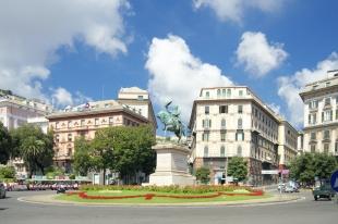 Piazza Corvetto and monument of Victor Emmanuel II, Genoa, Italy