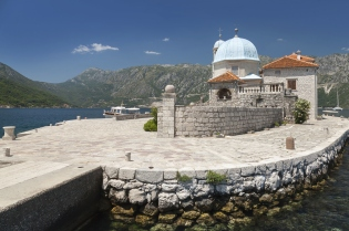 Old church on small island in Bay of Kotor, Montenegro