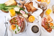 traditional large American breakfast Room Service