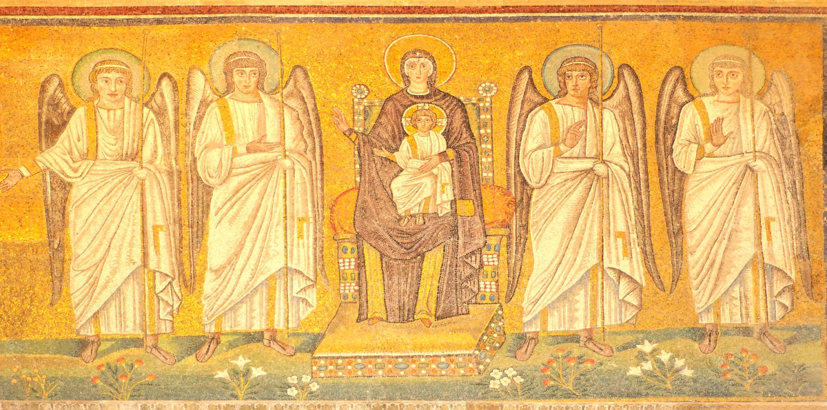 Virgin and Jesus, Mosaic in Ravenna