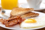 egg and bacon with toast Room Service