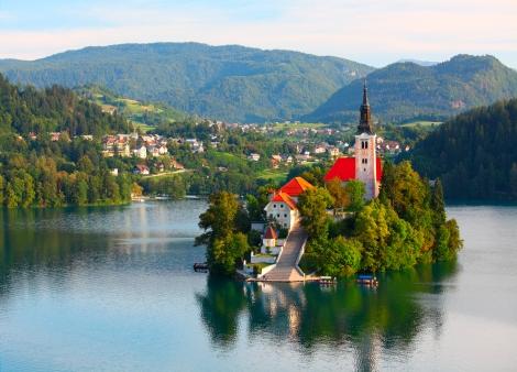 Santa Maria Church on Bled lake