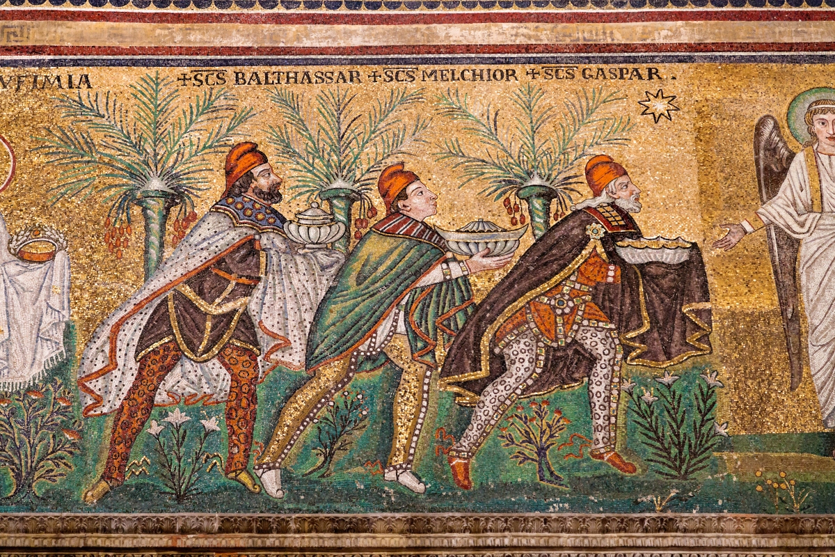 Mosaic on wall of Sant Apollinare Nuovo in Ravenna