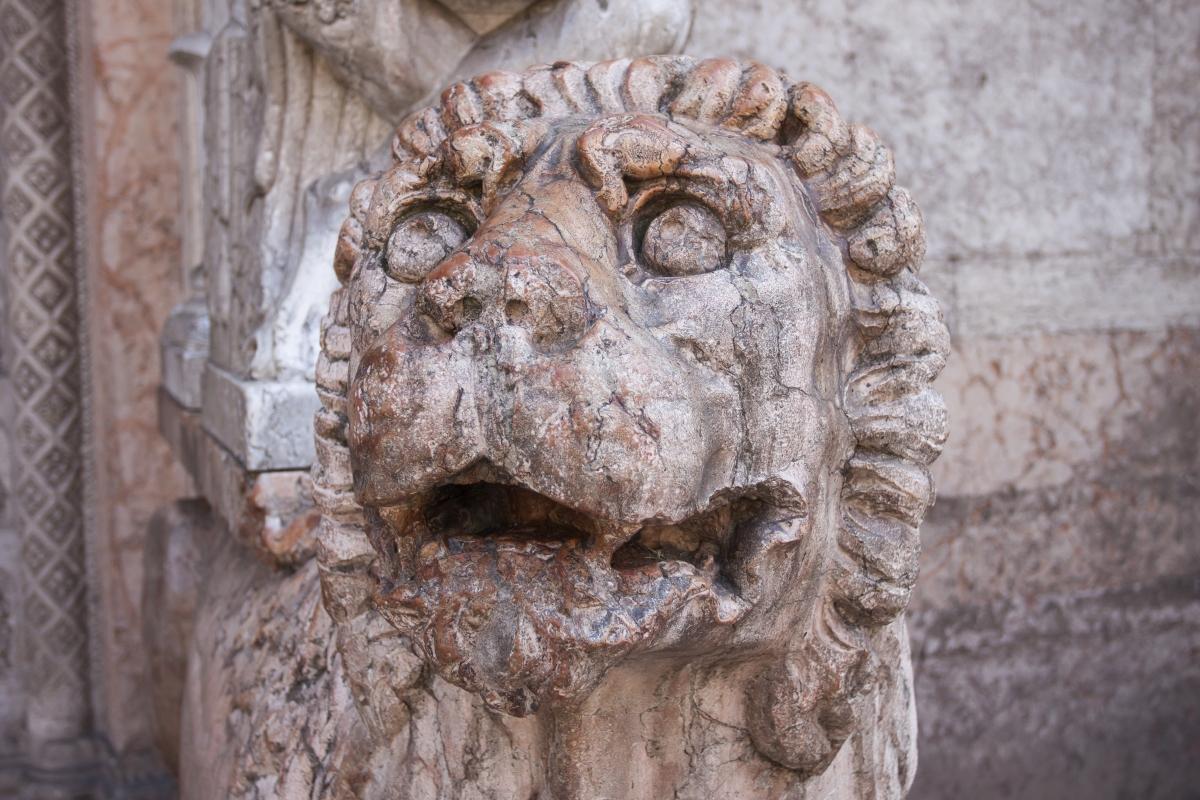 Italy, Ravenna lion statue