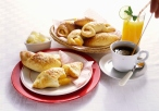 Breakfast with Cheese Pastries and Orange Juice Hotel