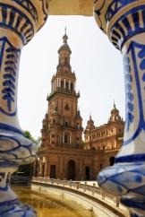 Spain, Andalucia, Seville, Plaza de Espana, view through stairs