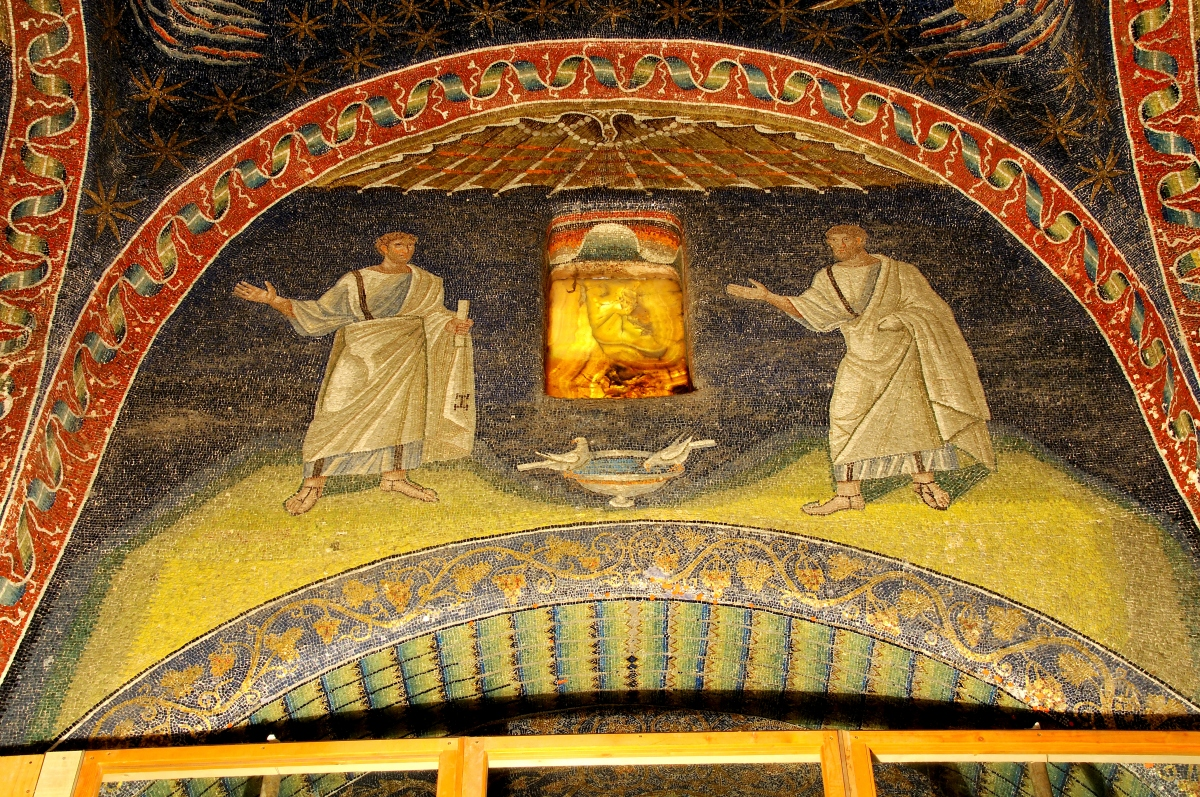 1600 year old mosaic from the tomb of Galla Placida listed by UNESCO. The scene depicts two roman men and two doves drinking at an urn. The window is a thin sheet of alabaster