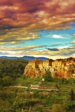 Sunset over Pitigliano
