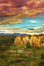 Sunset over Pitigliano