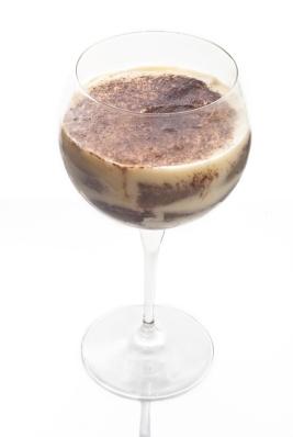 tiramisu dessert in crystal goblet