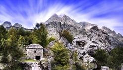 North Albanian alps panorama high mountains Tropoja