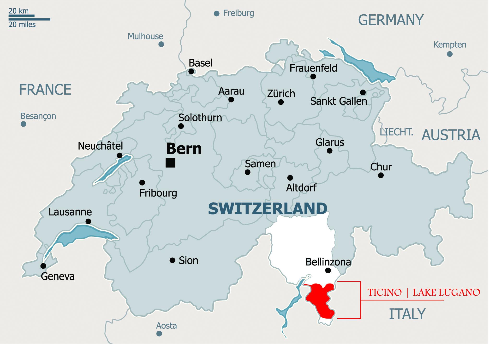 Lugano Map International Bellhop Travel Magazine