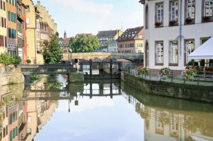 river canal in old town Strasbourg, France