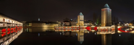 Panorama of Ponts couverts in Petite France district,Strasbourg