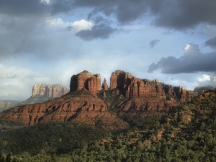 USA, Arizona, Sedona, Rock formation at dusk