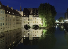 Evening view of the Heilig-Geist-Spital in Nuremberg, Germany