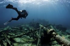 Diver Over Shipwreck