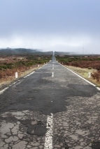 Empty never ending road in the island Madeira