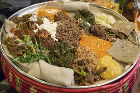 Injera  wot, traditional Ethiopian Food