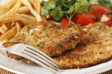Homemade chicken schnitzels