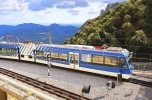 Train arrives to famous Montserrat monastery in Spain