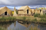 Small houses on Uros islands.