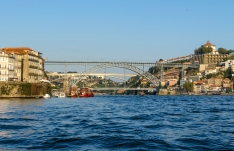 view of Porto and boats on Douro river