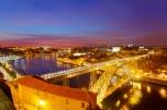Bridge of Luis I at night and Porto
