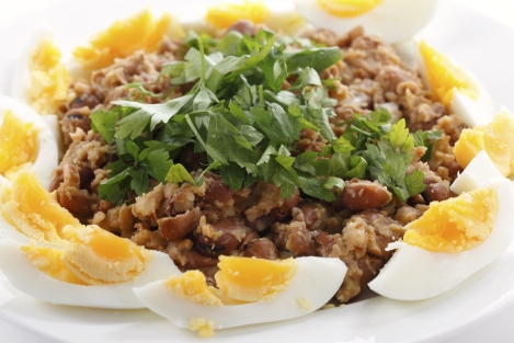 Egyptian Ful with boiled eggs