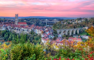 View of cathedral, Poya and Zaehringen bridge, Fribourg, Switzerland, HDR