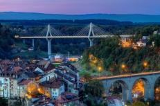 View of Poya and Zaehringen bridge, Fribourg, Switzerland, HDR