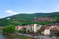 Quay and city view in summer Heidelberg